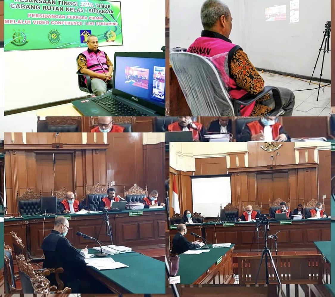 persidangan perkara pidana memalui video conference atau live streaming di Kejaksaan Tinggi Jawa Timur Cabang Rutan Klas 1 Surabaya dan Pengadilan Negeri Surabaya dengan perkara Tindak Pidana Perpajakan 31-03-2020