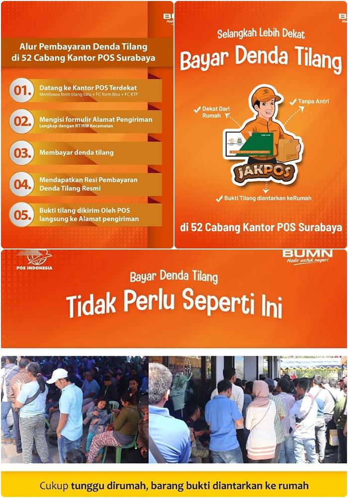 Kantor Pos Surabaya sekarang membuka layanan Pembayaran denda Tilang,16-09-2019